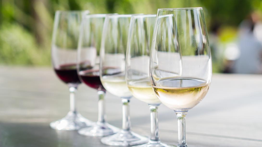 En vinprovning förbereds på en vingård i Stellenbosch, Sydafrika.